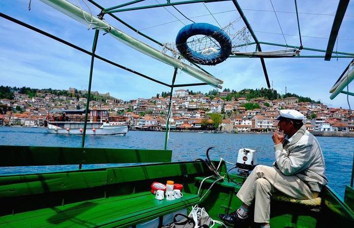 Balade en bateau sur le lac d'Ohrid en Macédoine