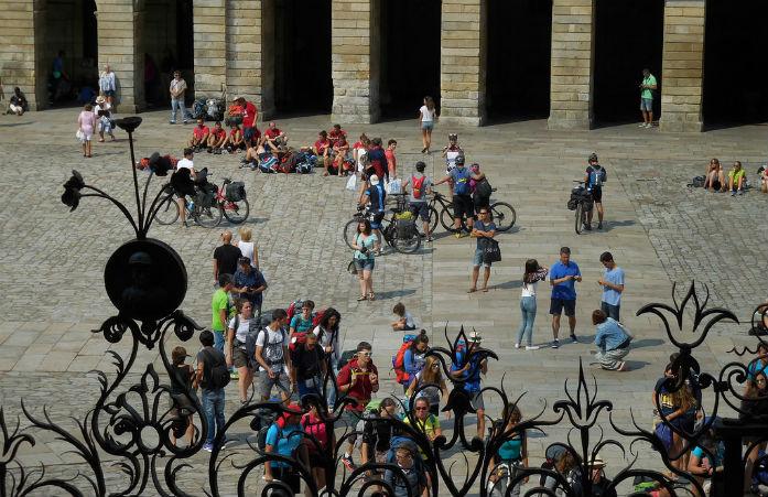 Nombreux sont les pèlerins qui arrivent à destination à vélo